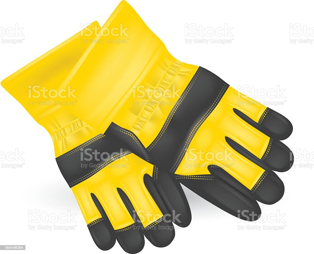 Protective yellow gloves laying on a white background vector art illustration