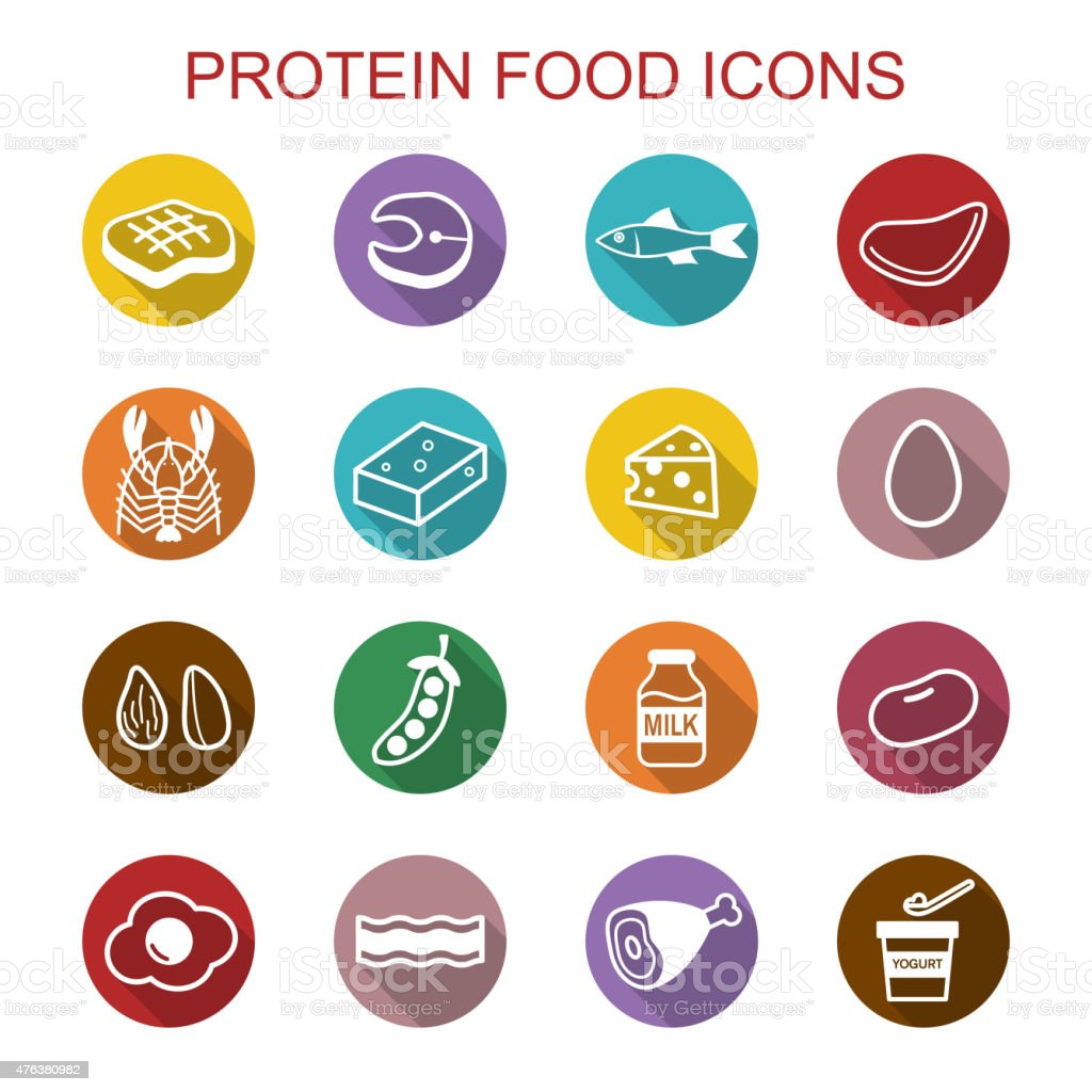 protein food long shadow icons vector art illustration