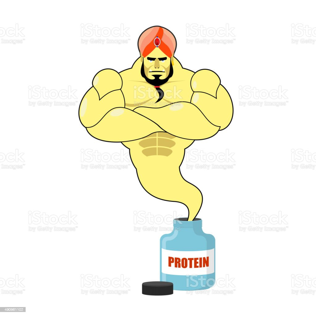 Protein strong Genie. Genie departs from banks with sports nutri vector art illustration