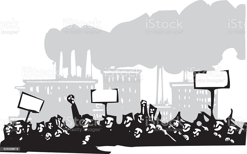 Protest at a Factory vector art illustration