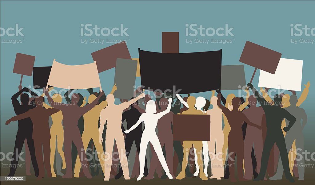 Protest group vector art illustration