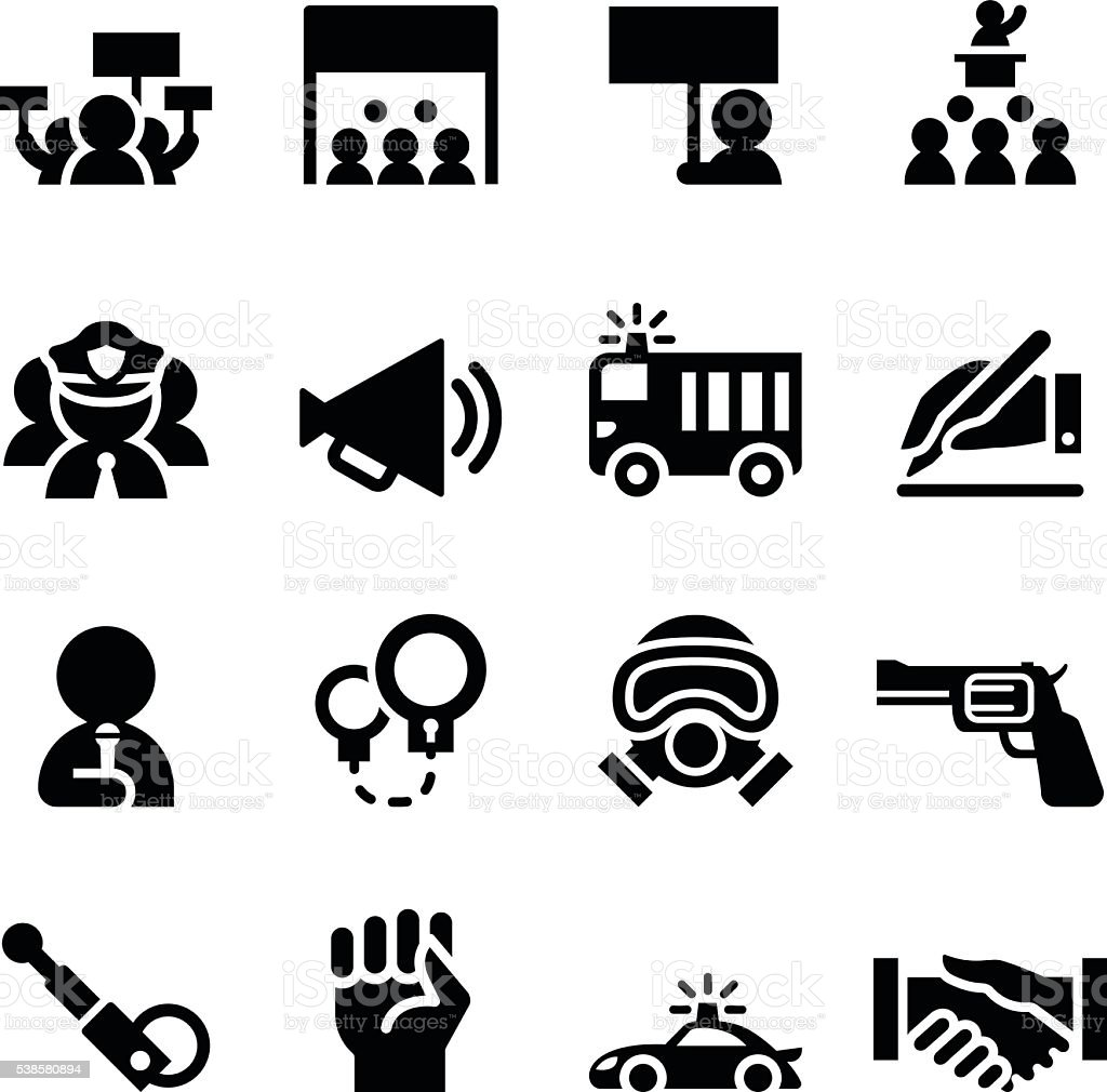 Protest icon set vector art illustration