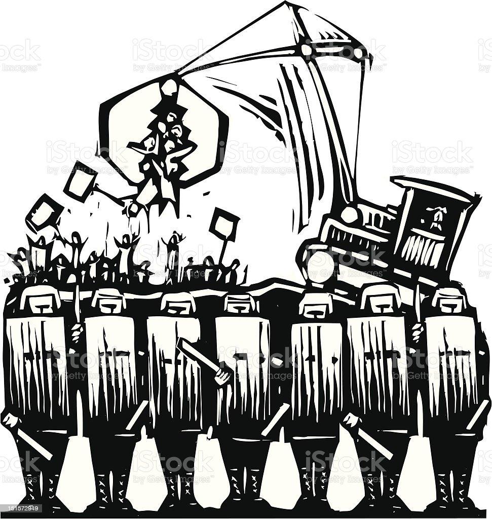Protest Police vector art illustration
