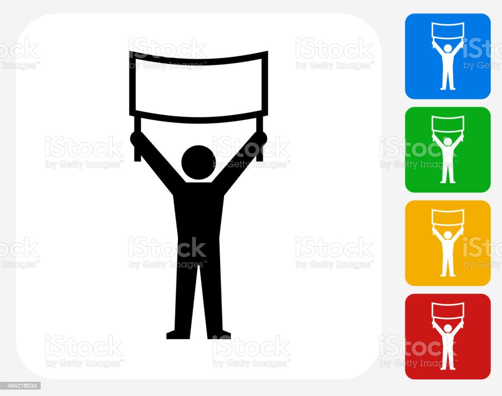 Protest Sign Icon Flat Graphic Design vector art illustration
