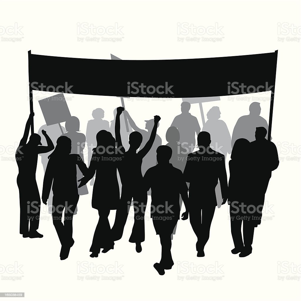 Protest Strike Marching Vector Silhouette royalty-free stock vector art