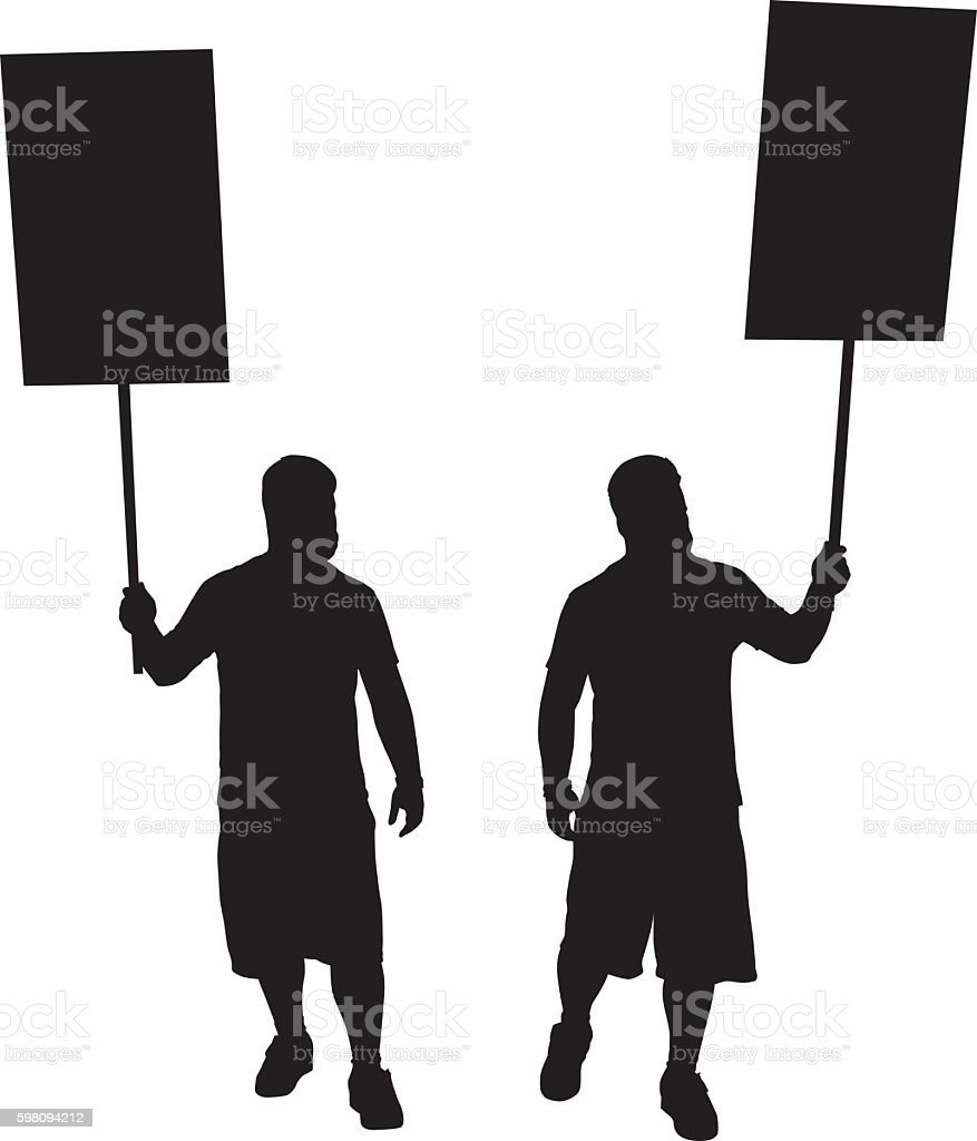 Protester With Sign Silhouettes vector art illustration
