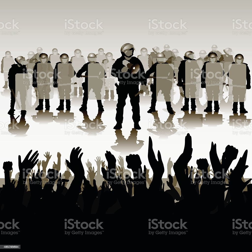 Protesters crowd and police vector art illustration