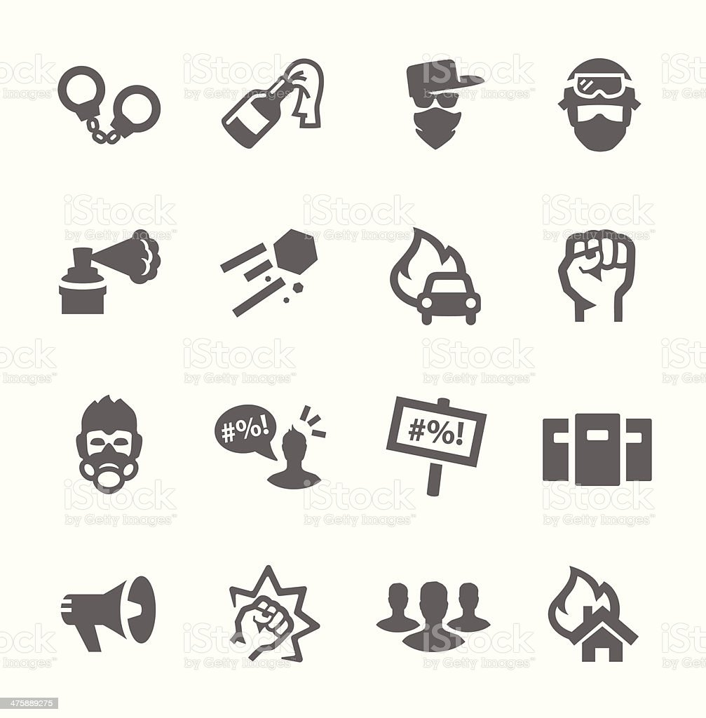 Protesters icons vector art illustration