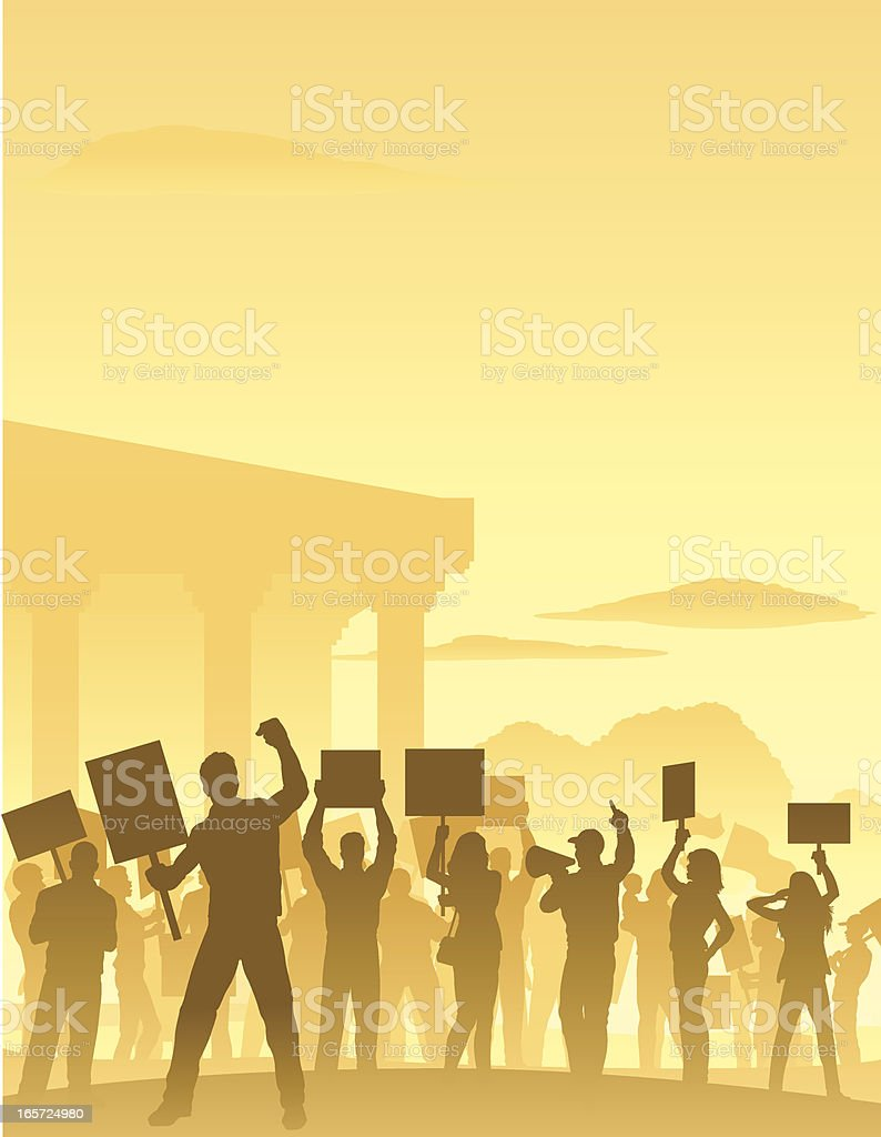 Protesters Scene vector art illustration