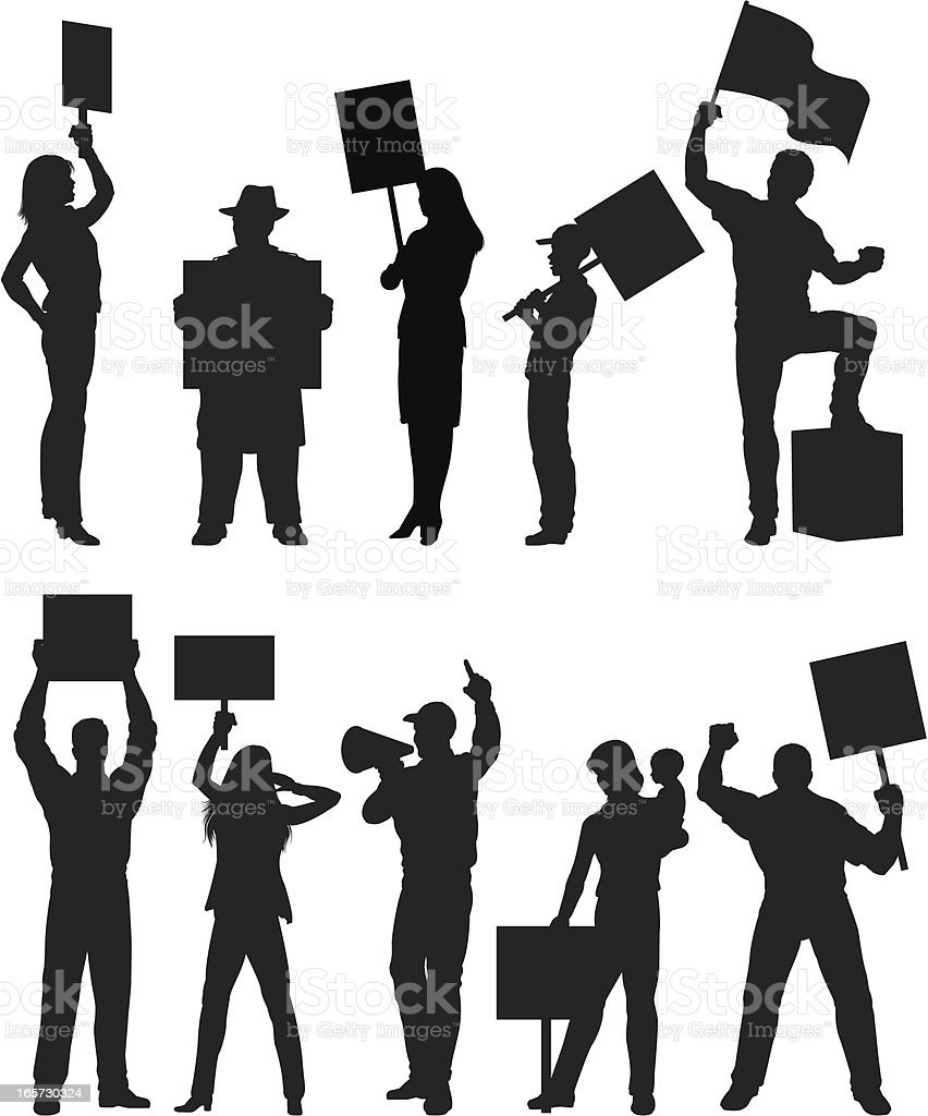 Protesters silhouettes vector art illustration