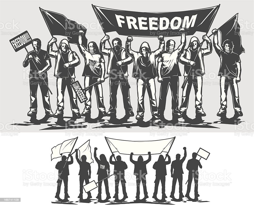 protesters vector art illustration