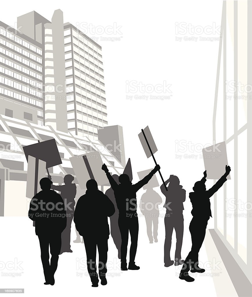 Protesters Vector Silhouette vector art illustration