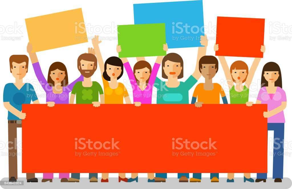 Protesters with banners. Manifestation, protest, society icon. Vector illustration vector art illustration