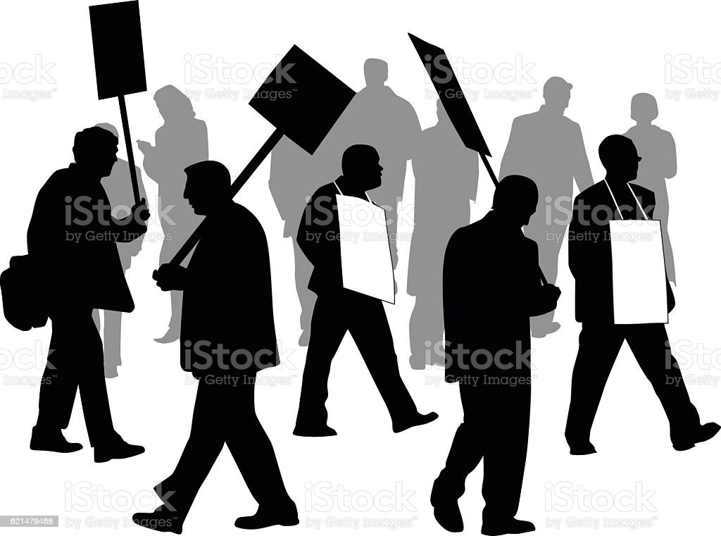 Protesting In The Streets Vector Silhouette vector art illustration