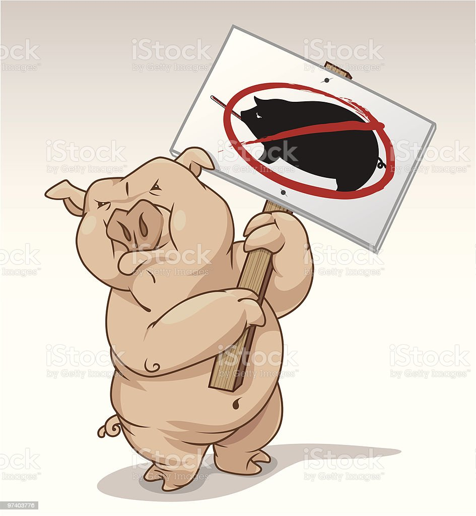 Protesting Pig royalty-free stock vector art
