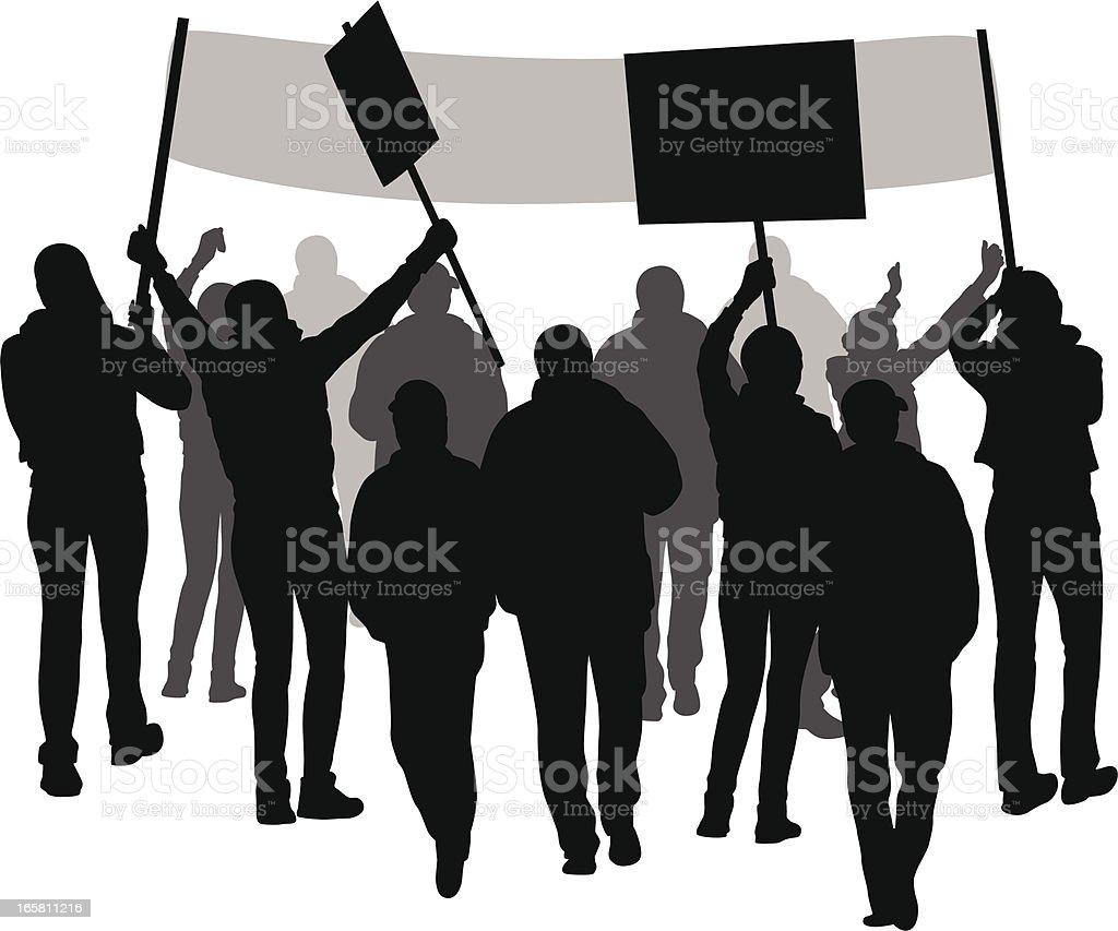 Protesting vector art illustration