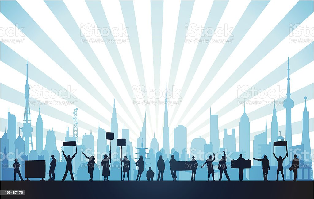 Protestors in a Blue City royalty-free stock vector art