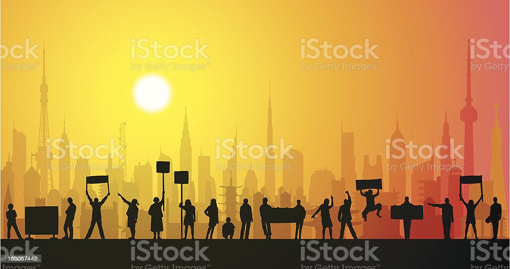 Protestors in the City royalty-free stock vector art