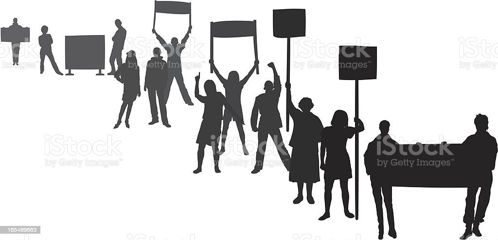 Protestors (Each Person is Complete and Moveable) vector art illustration