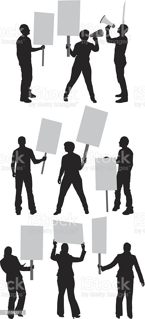 Protestors with signboards royalty-free stock vector art
