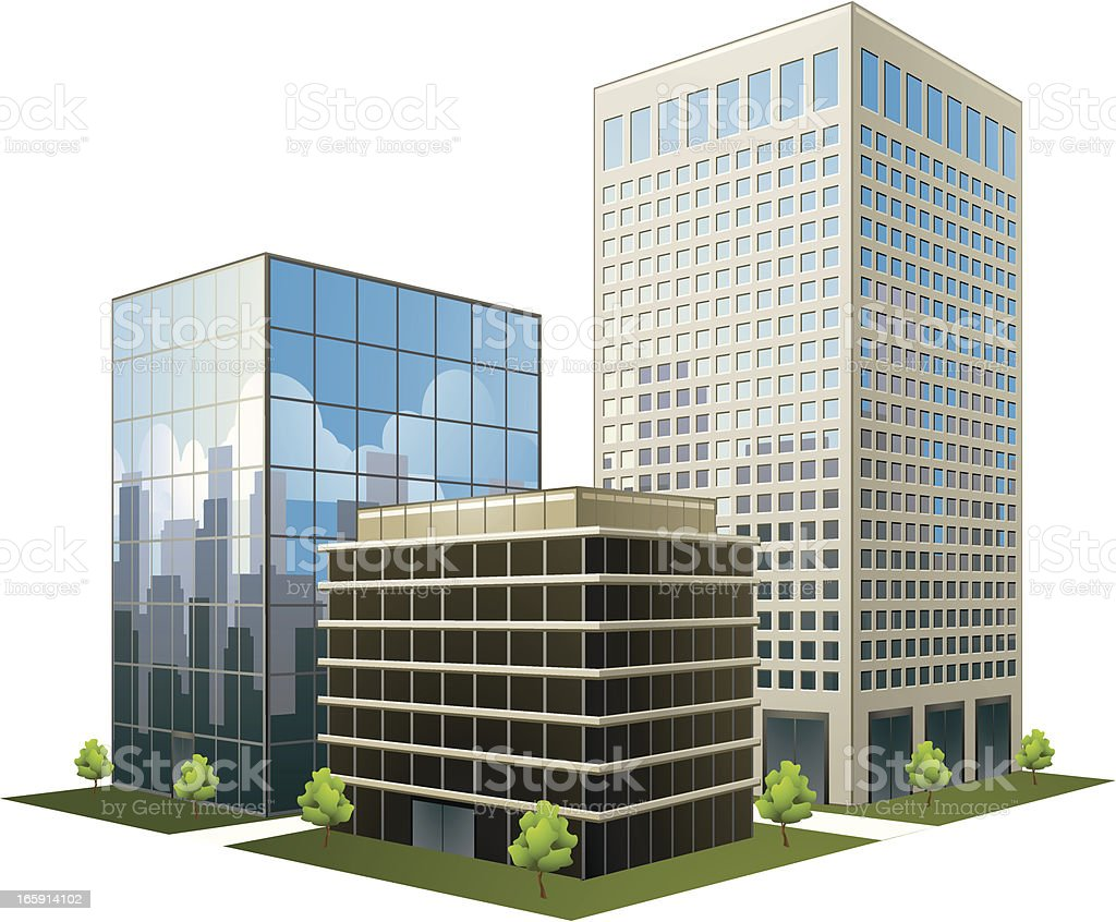 A prototype of three office buildings on a white background vector art illustration