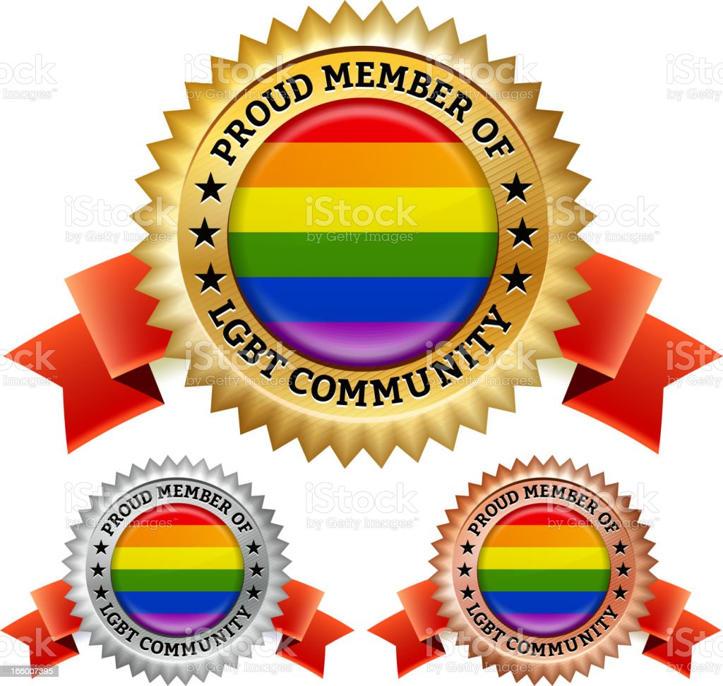 Proud Gay Lesbian LGBT Community Badge vector icon set royalty-free stock vector art