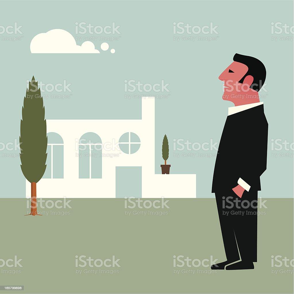 Proud owner of a villa vector art illustration