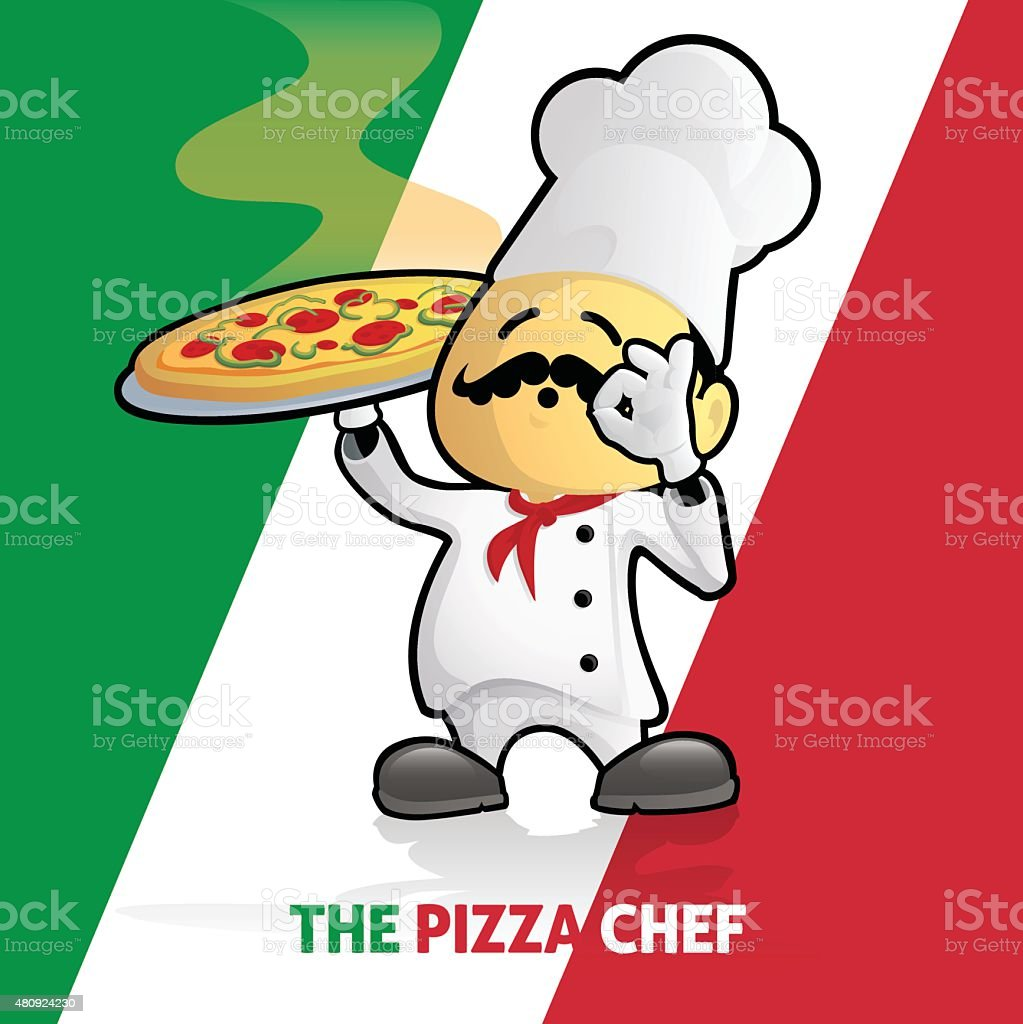 Proud Pizza Chef on Italian Flag vector art illustration