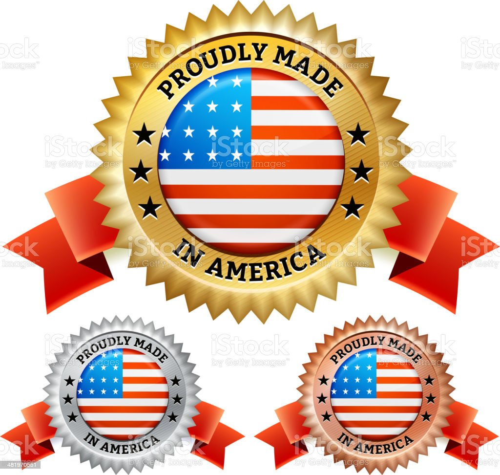 Proudly Made in the USA patriotic Badge vector icon set royalty-free stock vector art