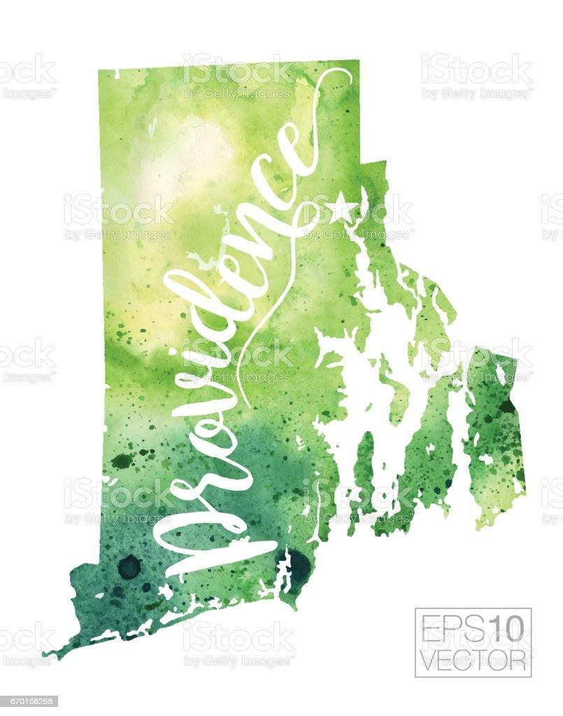 Providence Rhode Island Usa Vector Watercolor Map Stock Vector Art - Rhode island in usa map