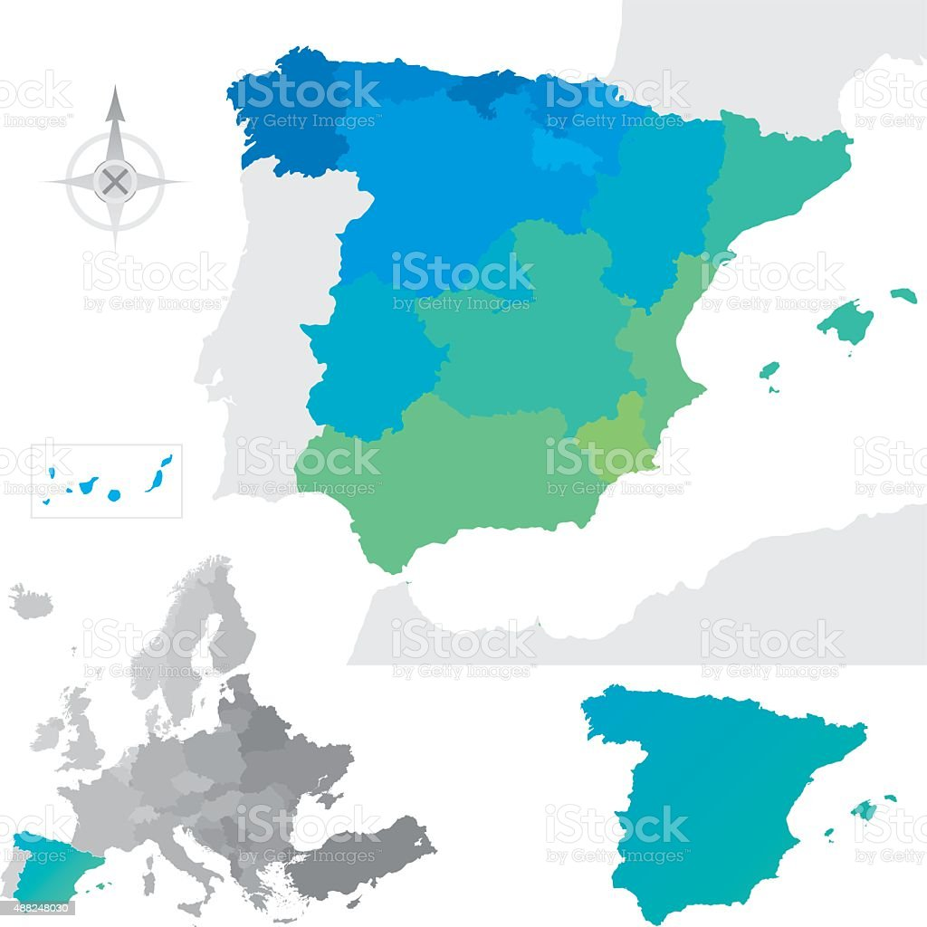 Provinces and communities of Spain vector art illustration