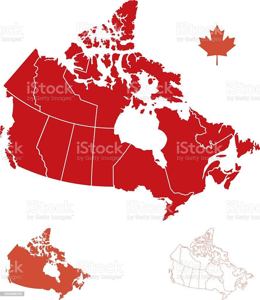 Provinces of Canada vector art illustration