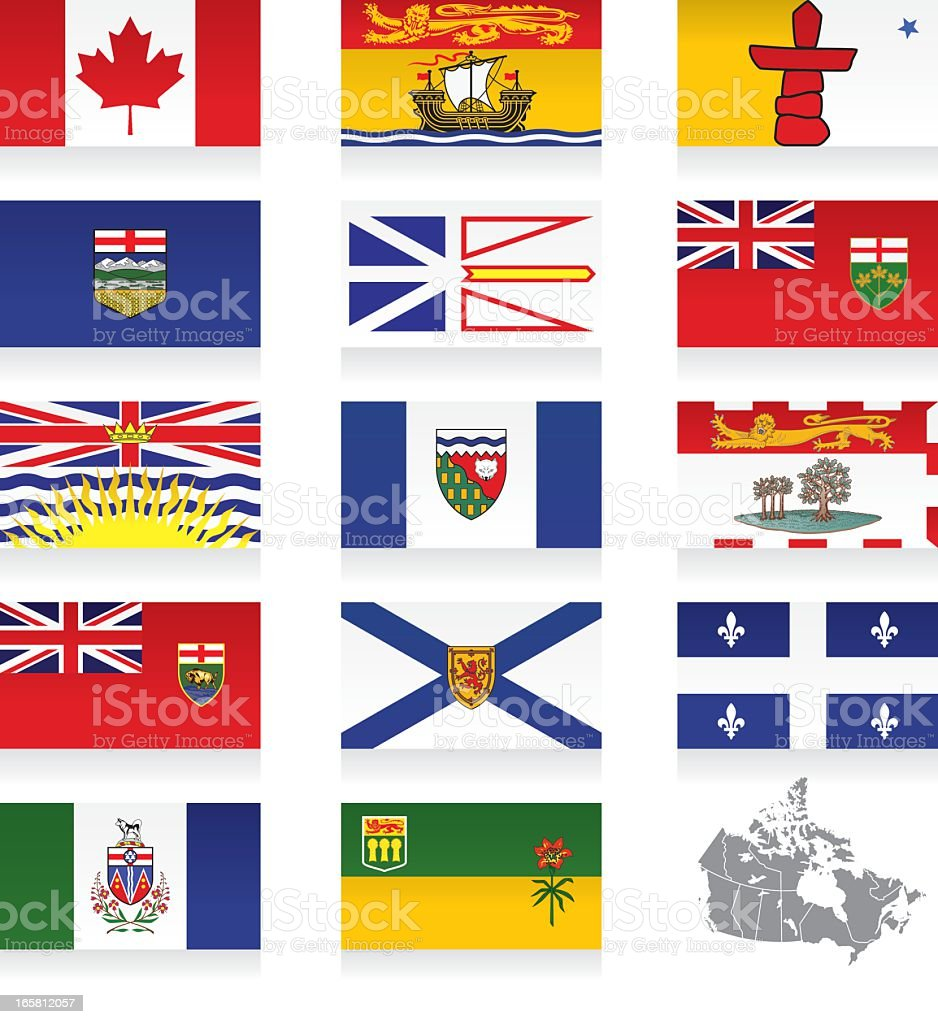 Provincial Flags of Canada Icon Set royalty-free stock vector art