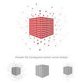 Pseudo 3d vector cube illustration with splash surrounding