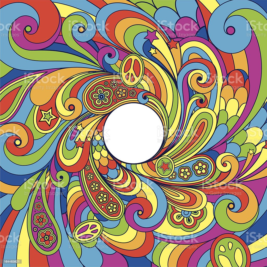 Psychedelic 70's background vector art illustration
