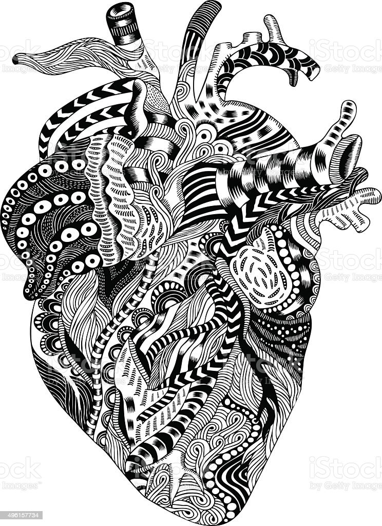 psychedelic human heart illustration stock vector art 496157734,