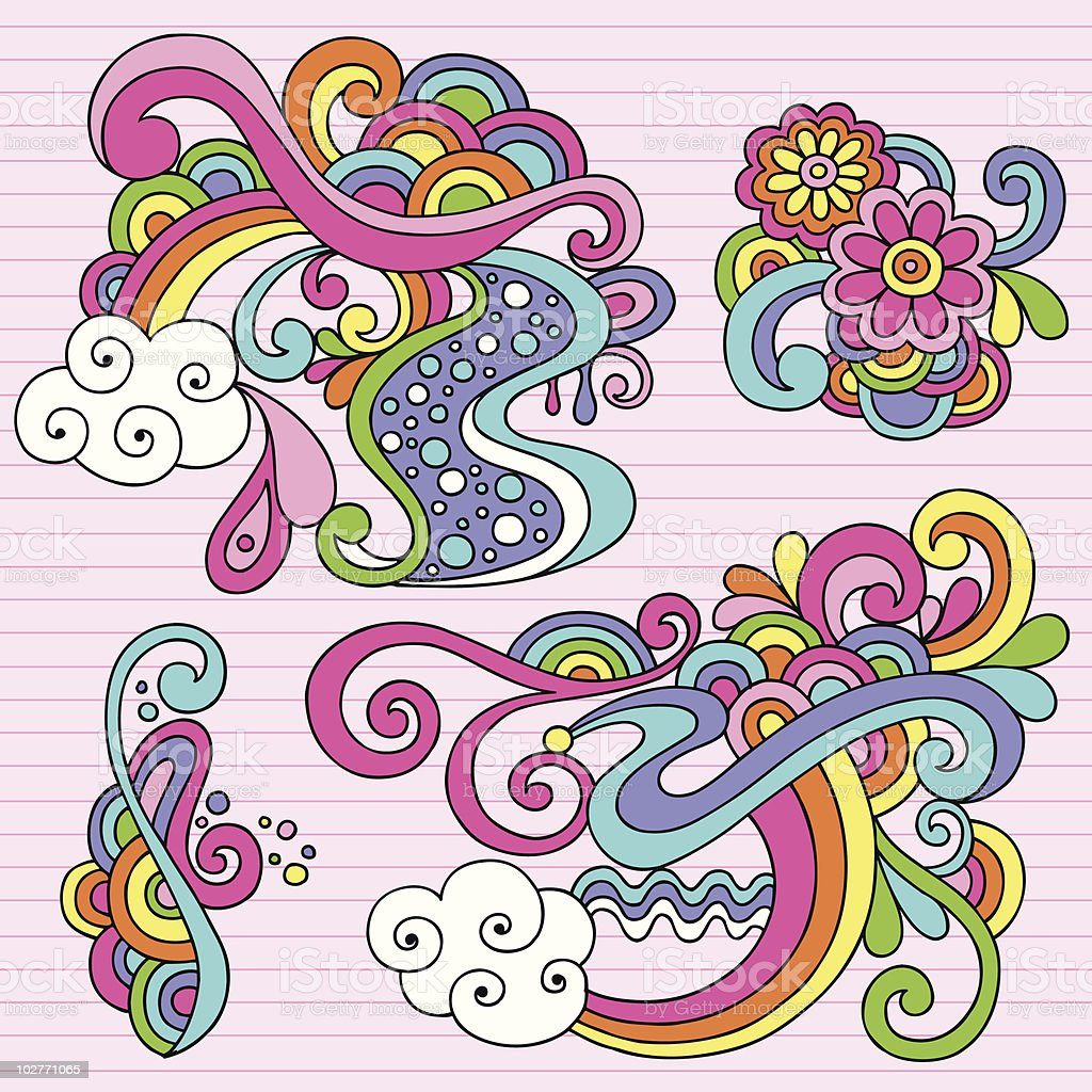 Psychedelic Notebook Doodle Design Elements royalty-free stock vector art