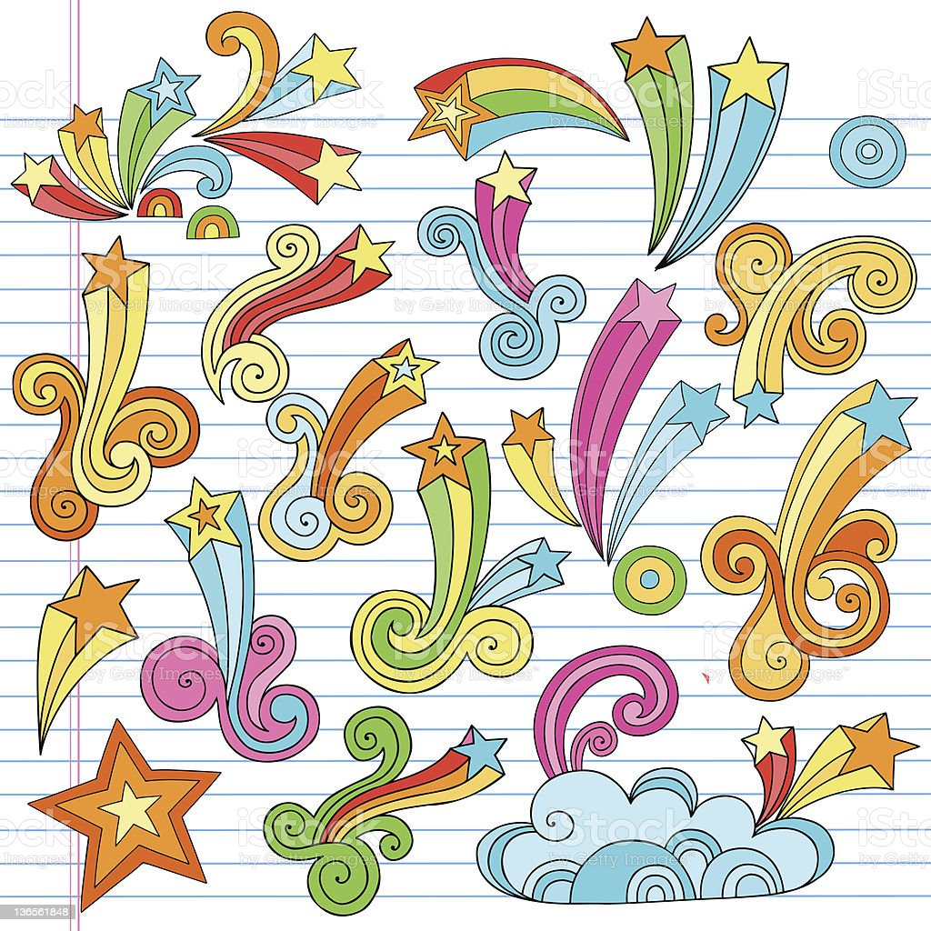 Psychedelic Stars and Swirls Notebook Doodles Vector Set vector art illustration