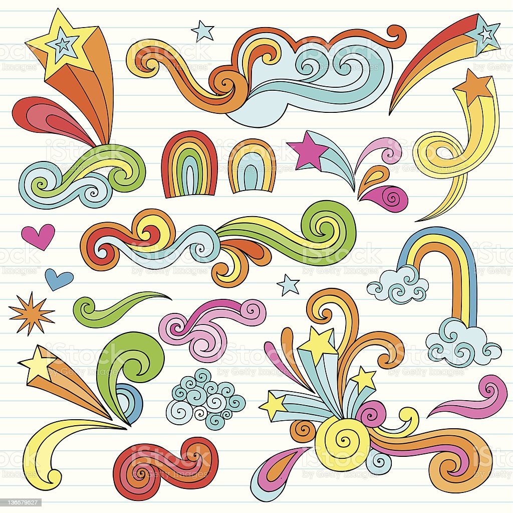Psychedelic Stars and Swirls Notebook Doodles Vector Set royalty-free stock vector art