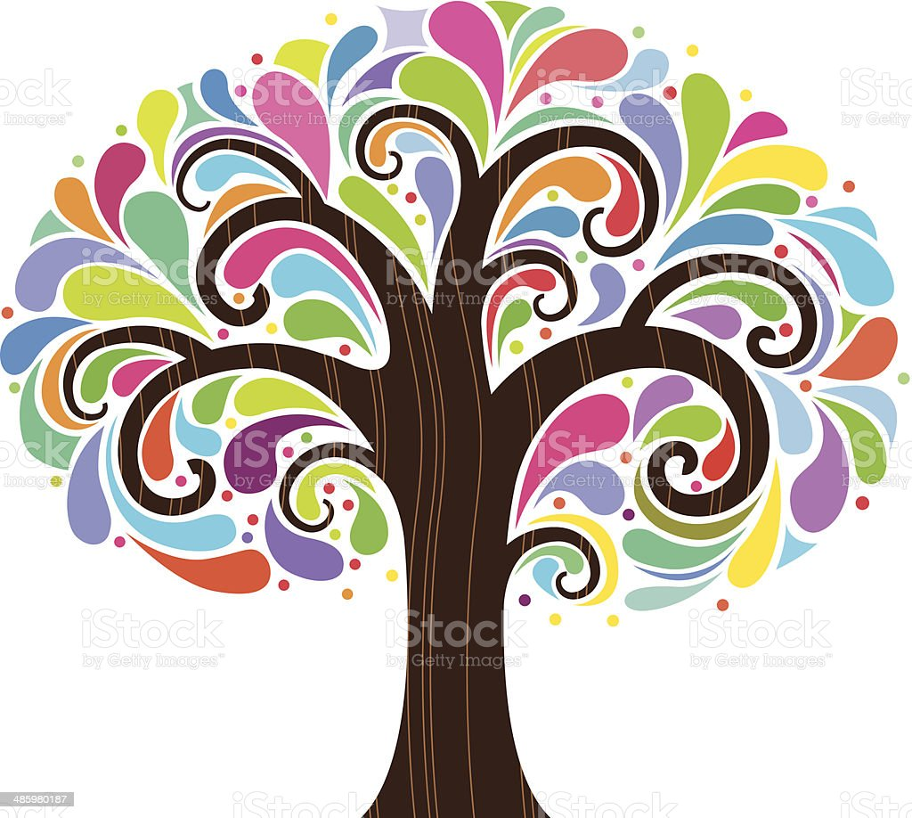 Psychedelic tree two royalty-free stock vector art