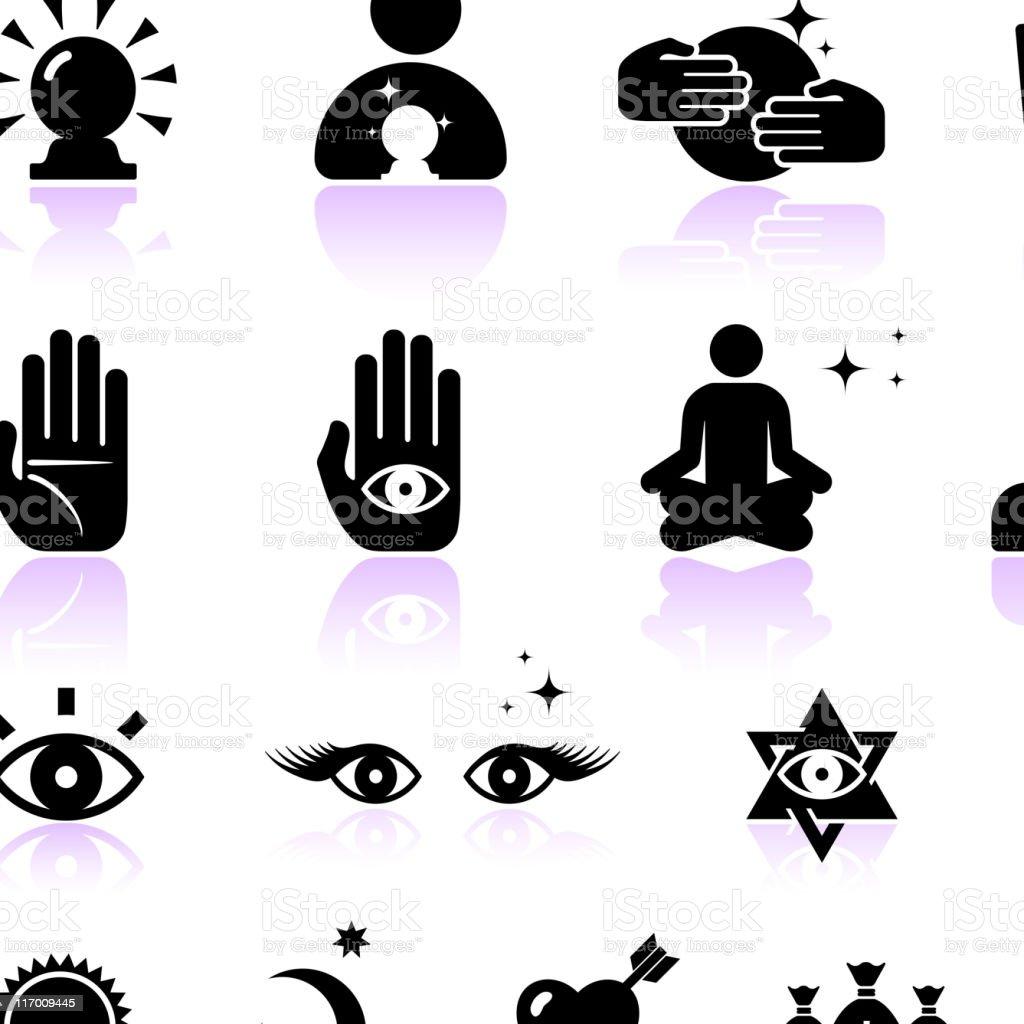 psychic fortune teller black and white vector icon set vector art illustration