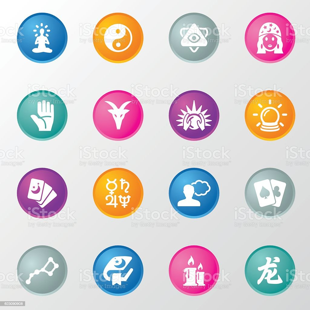Psychic Fortune Teller Circle Color Icons vector art illustration