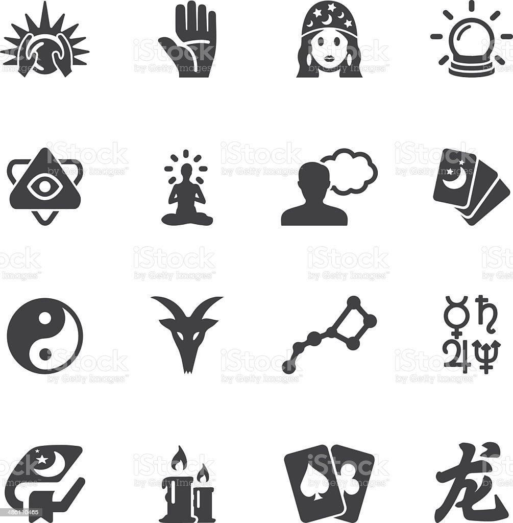 Psychic fortune teller Silhouette icons | EPS10 vector art illustration