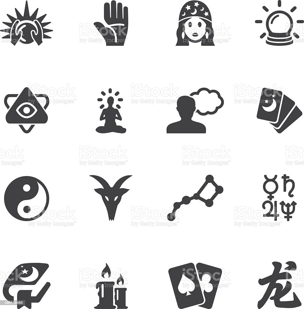 Psychic fortune teller Silhouette icons | EPS10 vector art illustration