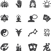 Psychic fortune teller Silhouette icons | EPS10