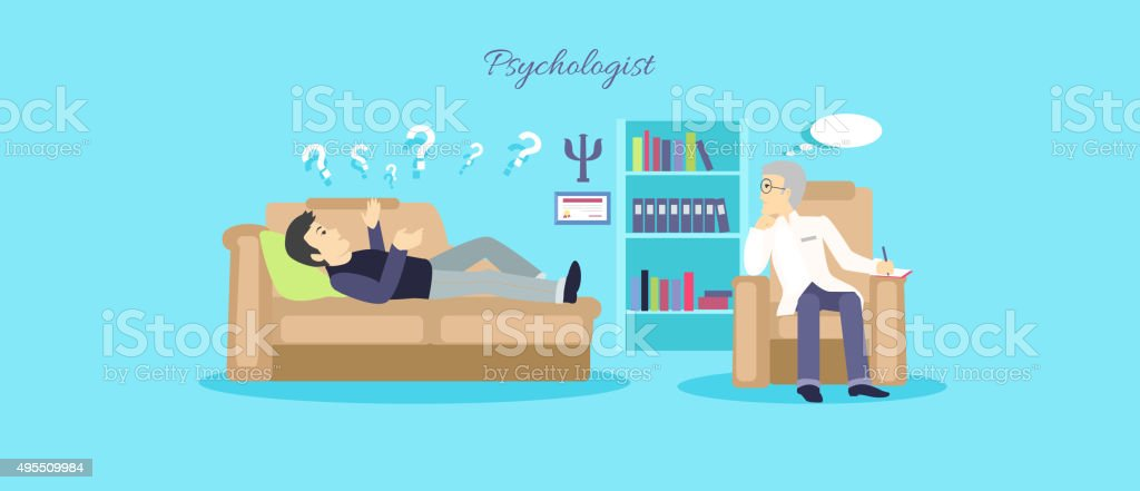 Psychologist Concept Icon Flat Isolated vector art illustration