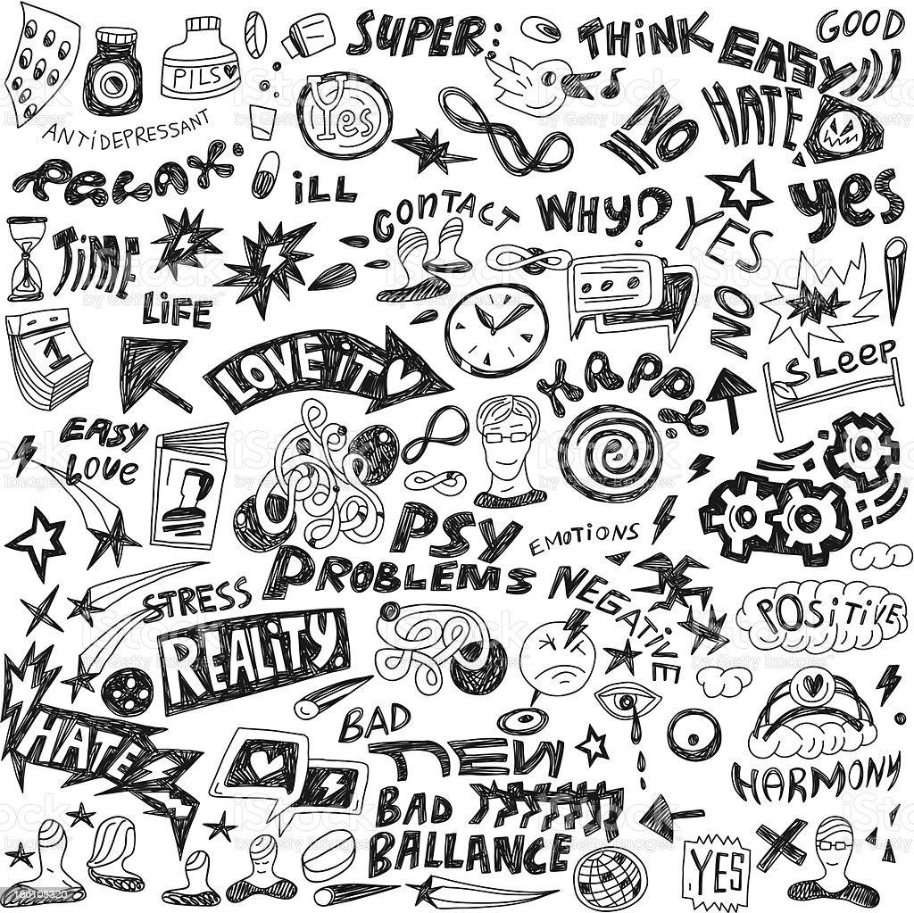psychology - doodles set royalty-free stock vector art