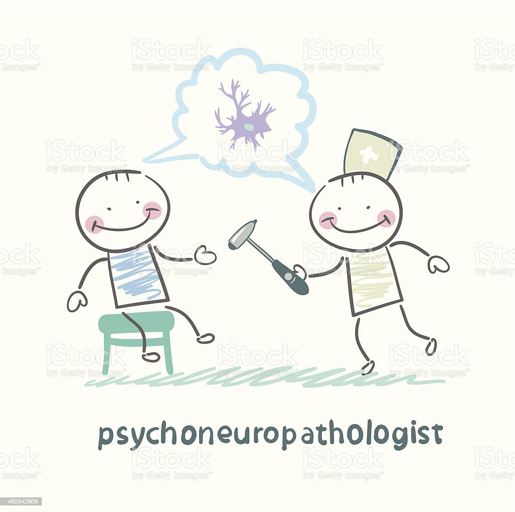 psychoneuropathologist   check the patient's nerves royalty-free stock vector art