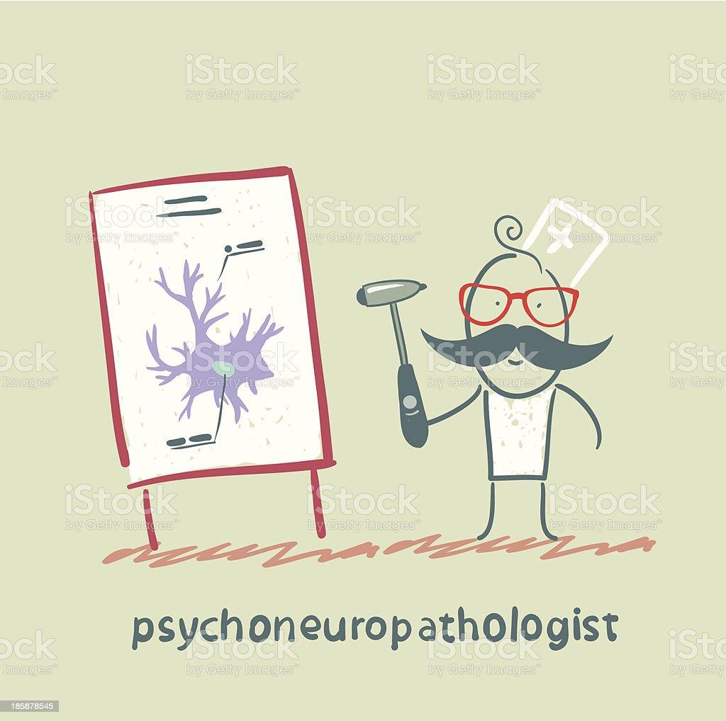 psychoneuropathologist holds the hammer royalty-free stock vector art