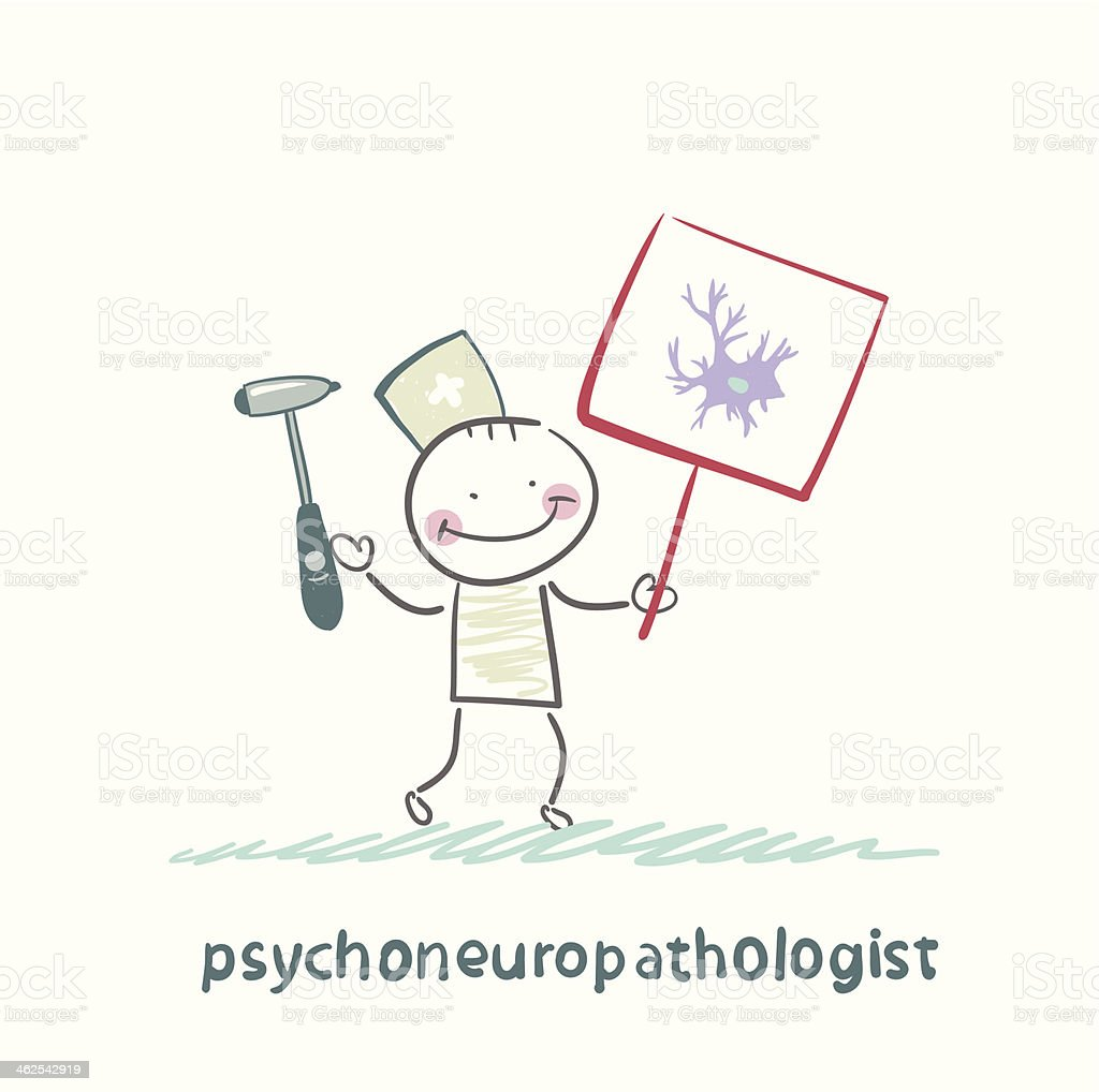 psychoneuropathologist  is drawn with a poster royalty-free stock vector art